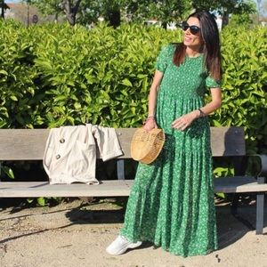 Zara floral print green maxi dress